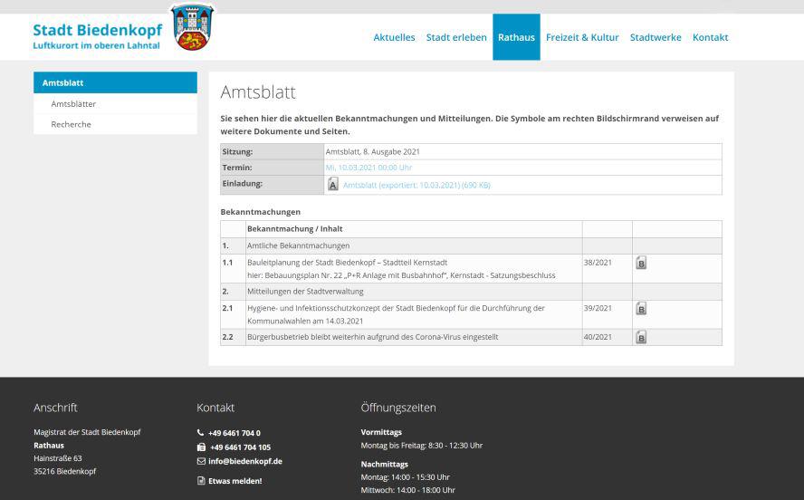 Screenshot vom Amtsblatt mit den Amtlichen Bekanntmachungen oder Kontaktdaten.