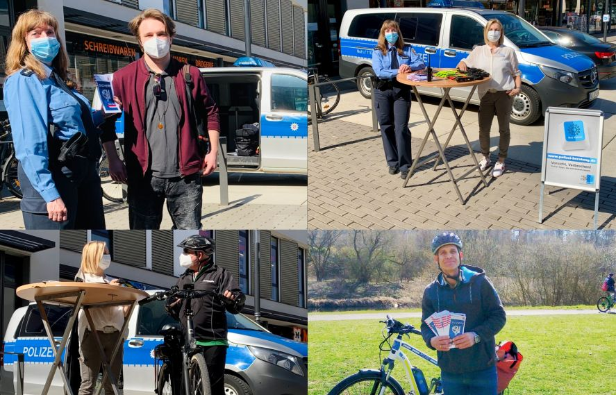 4 Foto-Collage. Polizeibeamtin und Bürger im Gespräch rund ums Rad