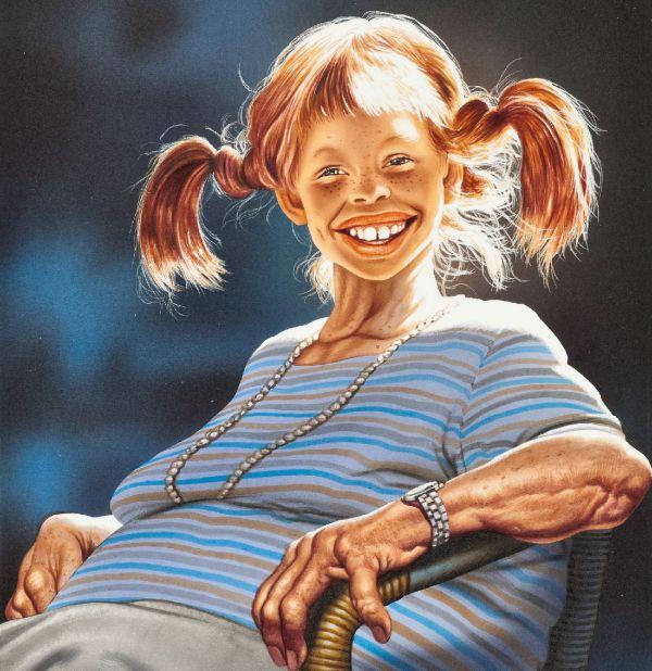 Pippi Langstrumpf als alte Frau