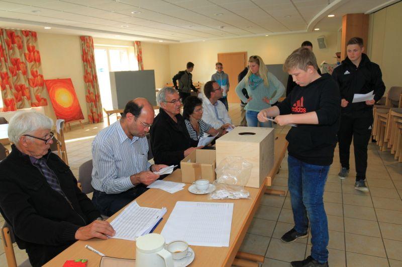 Menschen wählen und werfen ihre Stimmzettel in Boxen