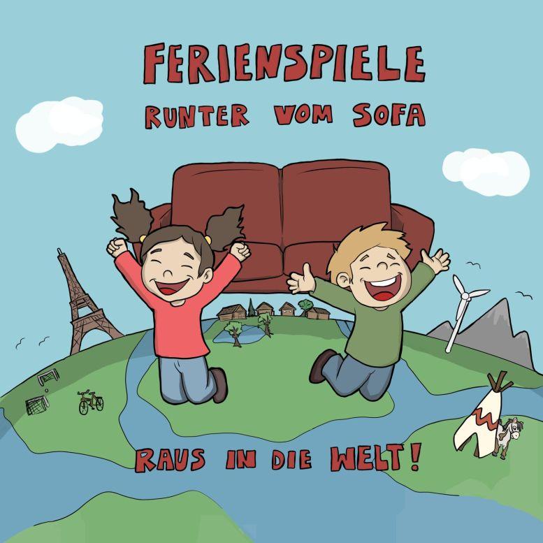 Zeichnung mit hüpfenden Kindern, Eiffelturm, Tipi und Landschaft...