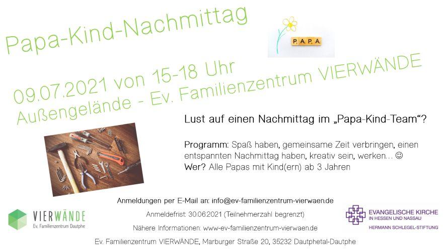 Ein Plakat mit Infos zum Papa-Kind-Nachmittag.