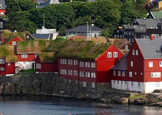 Begrünte Dächer an einer Hafenstadt