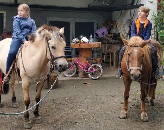 2 Kinder auf Pferden