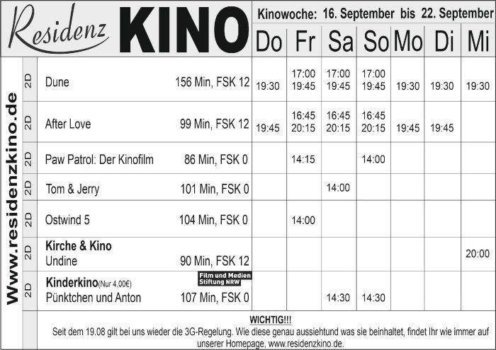 Das aktuelle Kinoprogramm im Residenz Kinocenter.